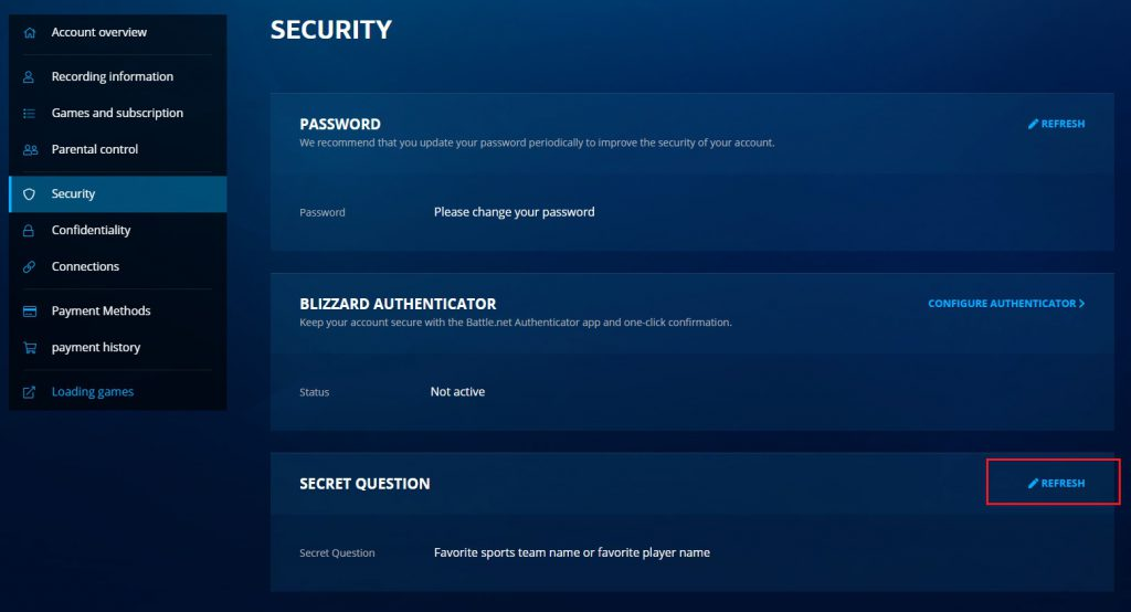 فعال کردن و تغییر سوال امنیتی در بتل نت